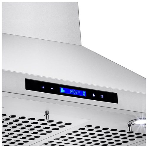 "30"" Stainless Steel Island Mount Range Hood Touch Screen Display Light Lamp Baffle Filter 2"