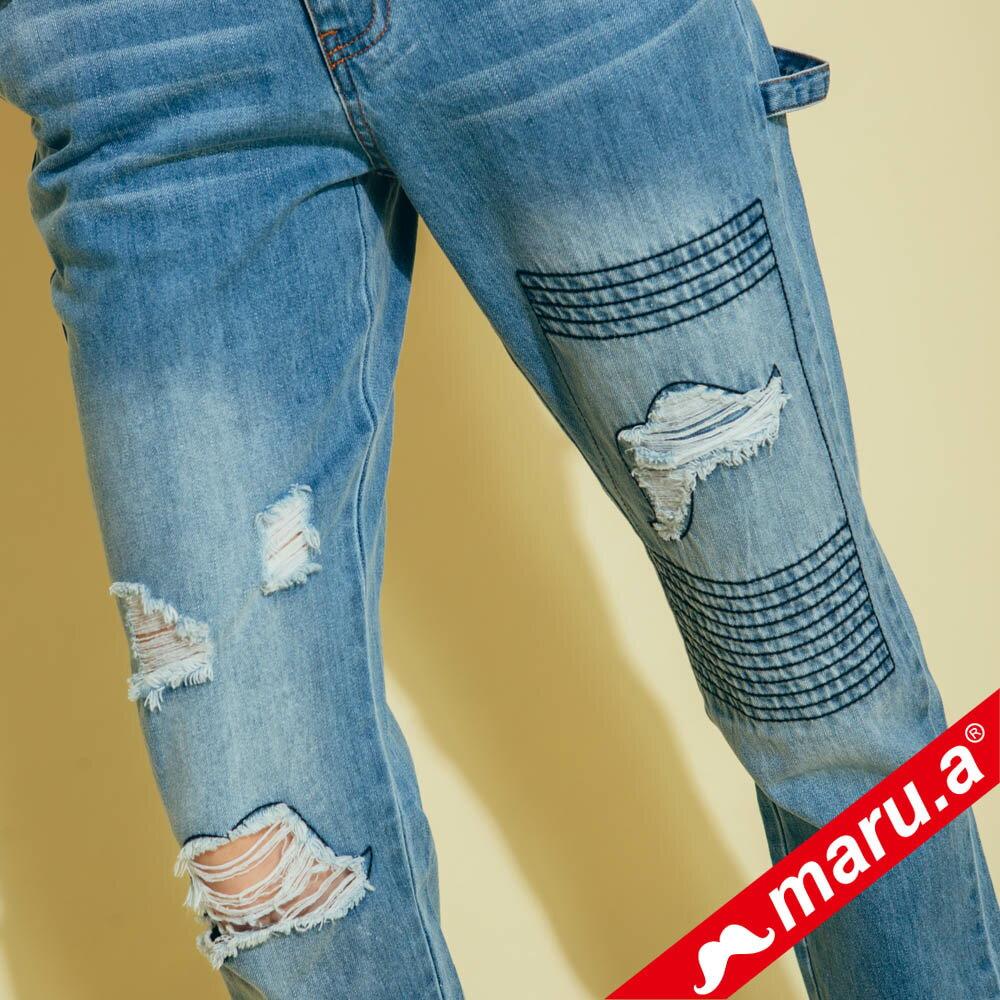 【maru.a】刷破鬍子車線裝飾後口袋小船印花牛仔長褲(2色)8325215 3