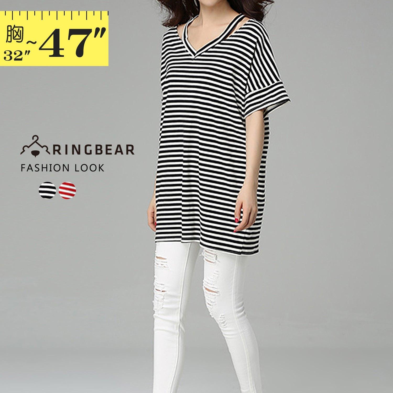 短袖棉T--寬鬆顯瘦V領吊帶條紋蝙蝠短袖中長款棉質T恤(黑.紅L-4L)-T310眼圈熊中大尺碼 1