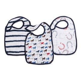 【淘氣寶寶】美國Aden+Anais雙層細紗布圍兜(3入裝公司貨)萬馬奔騰系列7126★英國喬治小王子御用包巾品牌
