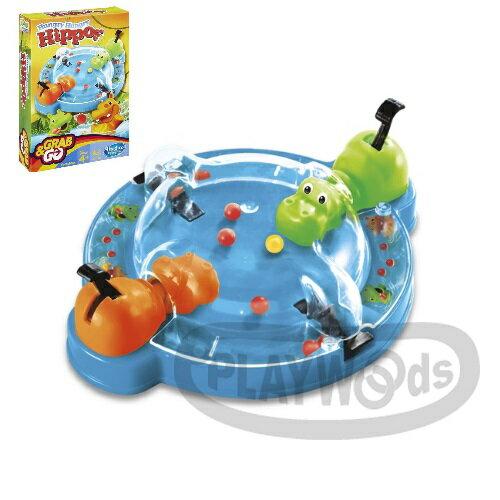 【Playwoods】[MB智樂遊戲]餵食小河馬遊戲組-攜帶式Hungry Hungry Hippos Game Grab & Go(隨身包/可搭配APP遊戲/輕巧版/經典/地產大亨/親子互動/桌遊/Board Game/孩之寶Hasbro)