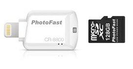 可傑 PhotoFast microSD 讀卡機 CR-8800 蘋果專用 擴充手機記憶體 最大支援128G 隨身碟 (白)