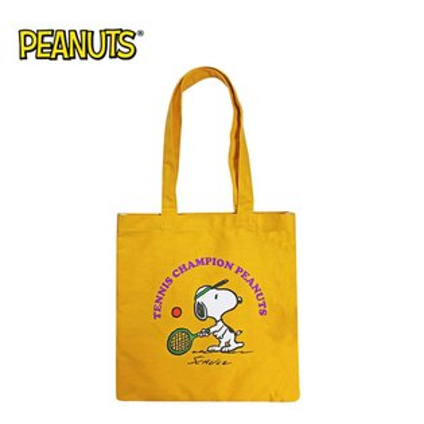 芥末黃款【日本正版】史努比帆布肩揹提袋肩背包手提袋托特包SnoopyPEANUTS-184629