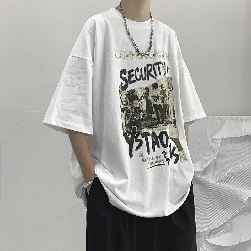 字母印花短袖T恤夏季國潮高街嘻哈美式潮牌半袖體恤