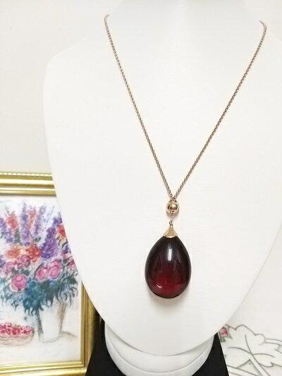來自波羅的海 出自名設計師 具有優美線條之紅珀項鍊 925銀鍍玫瑰金色
