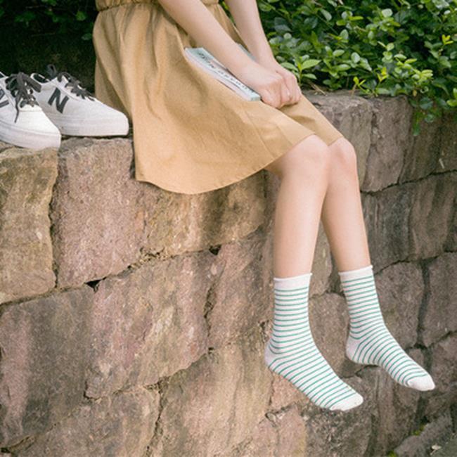 50%OFF SHOP【W018400SK】秋冬新品 韓版 學院風卷邊細條紋女襪 鬆口堆堆襪 純棉襪子批發