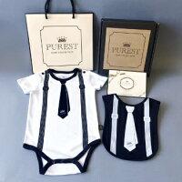 彌月禮盒推薦PUREST baby collection 短袖【衣漾兜很帥】小紳士領帶款禮盒組 (包屁衣+圍兜) ❤ 給寶寶最佳彌月週歲禮盒的首選