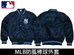 Shoestw【5560740-580】MLB 美國大聯盟 棒球外套 排釦 洋基 深藍 防風 亮面