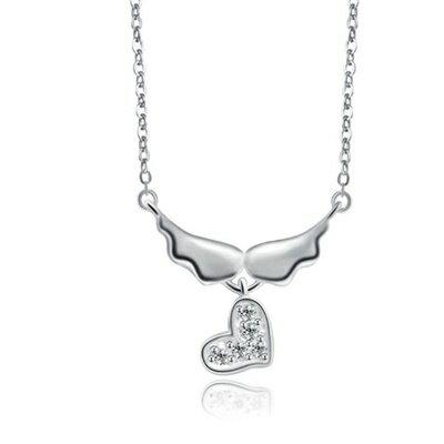 925純銀項鍊 鑲鑽吊墜~ 天使翅膀母親節情人節生日 女飾品73dk98~ ~~米蘭 ~