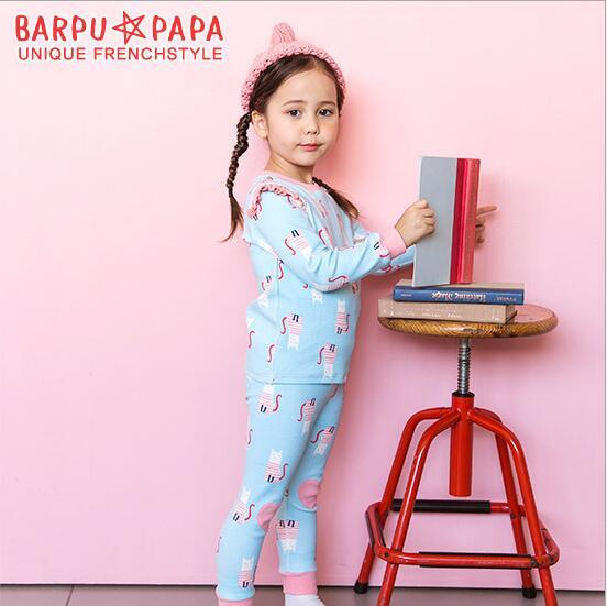 韓國Bebezoo 條紋小貓上衣+長褲二件式家居服套裝(淡藍)