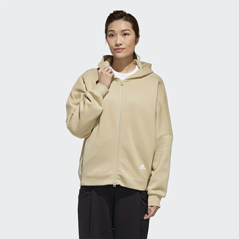 Adidas MUST HAVES WORD 女裝 外套 連帽 雙拉鍊 串標 抓皺 刷毛 卡其【運動世界】GF6976