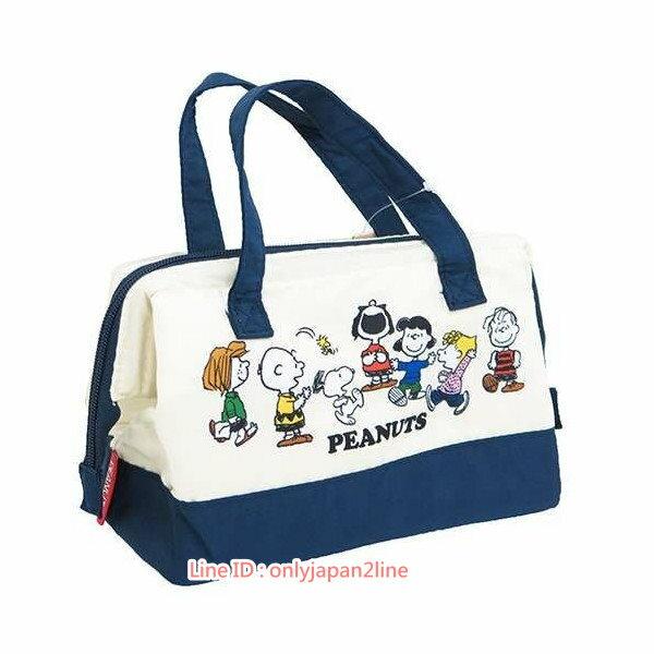 【真愛日本】17022000011寬口保溫提袋-SN與朋友藍  史努比 SNOOPY 手提袋  便當袋 正品