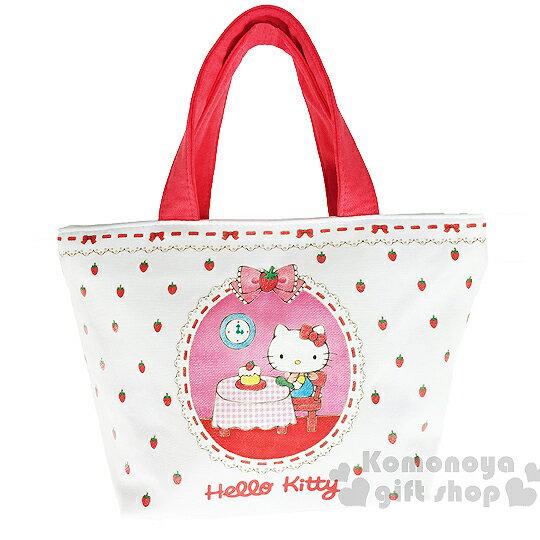 〔小禮堂〕Hello Kitty 棉質手提袋《小.坐姿.吃蛋糕.草莓》