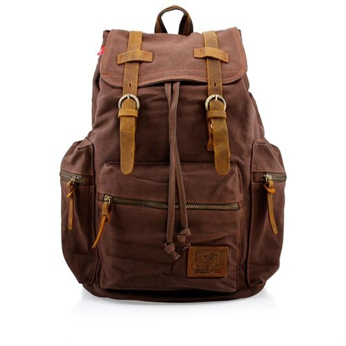 Men's Outdoor Sport Vintage Canvas Military BackBag Shoulder Travel Hiking Camping School Bag Backpack - Coffee 0