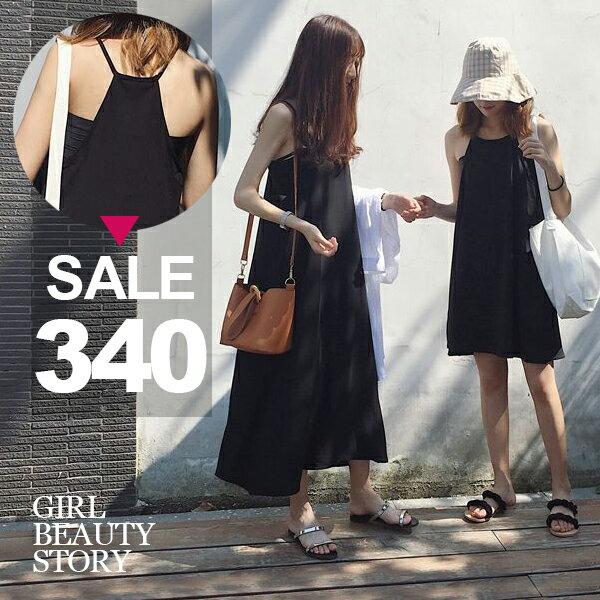 SISI【D8038】復古Chic風顯瘦無袖細肩吊帶純色雪紡連身裙洋裝