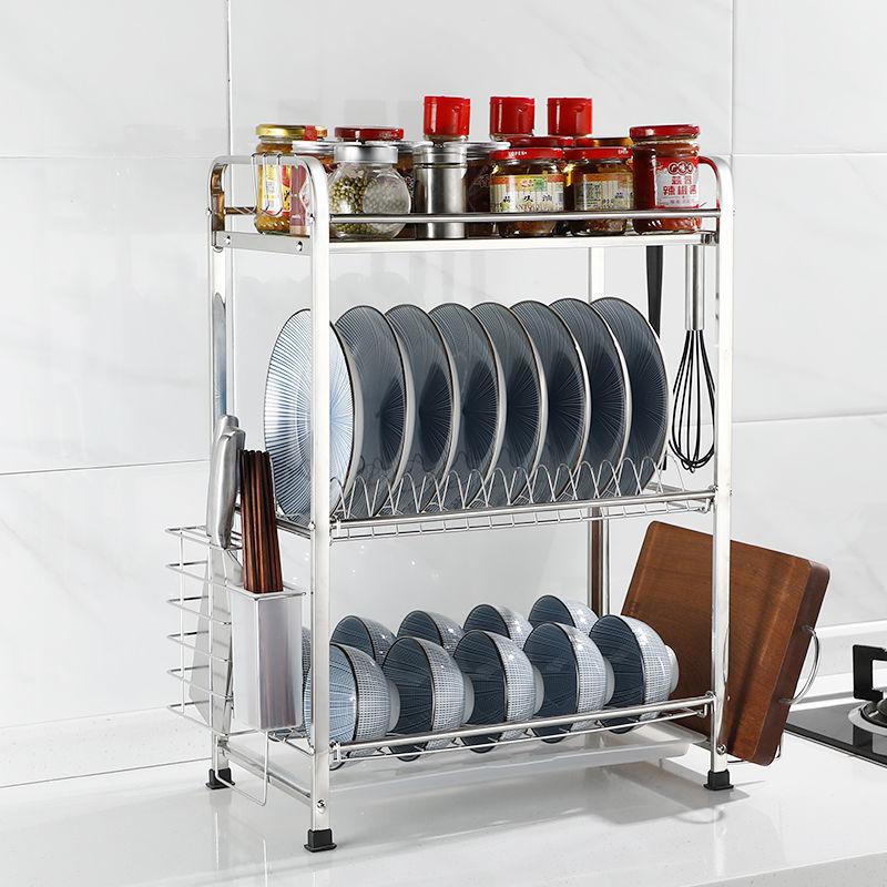 廚房不銹鋼瀝水架放碗碟架碗筷盤子收納盒調料架多功能多層置物架