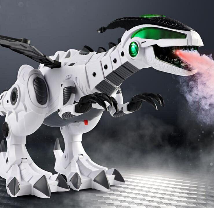 兒童大號噴火電動恐龍玩具仿真動物遙控會走霸王龍機器人男孩玩具 小明同學