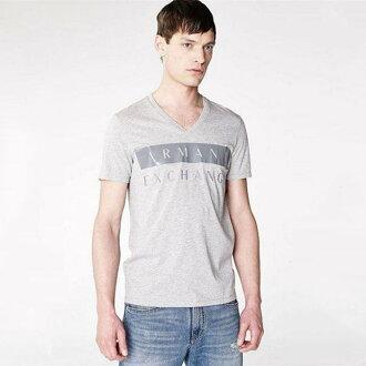美國百分百【Armani Exchange】T恤 AX 短袖 logo 短T 上衣 T-shirt V領 灰色 XS號 H856