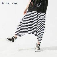 à la sha 抹茶條紋褲裙 0