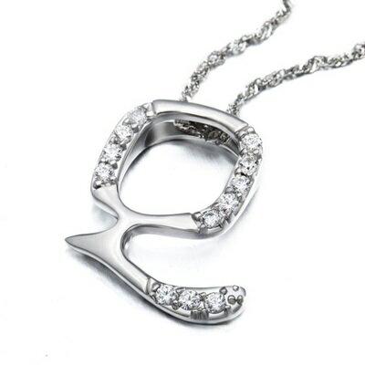~925純銀項鍊 鑲鑽吊墜~ 精美英文字母Q生日情人節 女飾品73dj41~ ~~米蘭 ~