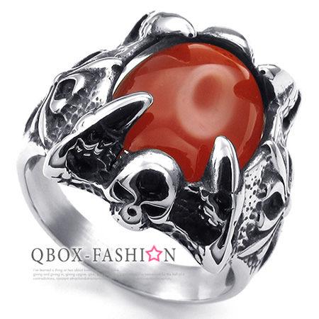 《QBOX》FASHION飾品【W10023477】精緻個性雙邊十字架魔爪紅瑪瑙鑄造316L鈦鋼戒指戒環(珍藏推薦)