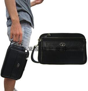 ~雪黛屋~Vallentino手拿包中容量二層主袋隨身物品夾包100%進口牛皮革+防水緹花布隨身物品多夾層V2053