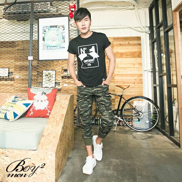 ☆BOY-2☆【NM88047】縮口褲美式街頭潮流休閒素面拼接皮標束口工作褲 3