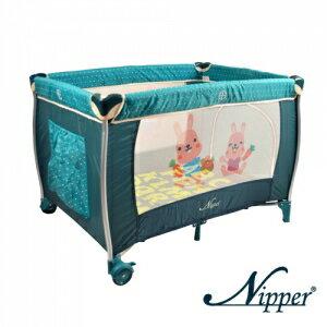 Nipper--可愛動物雙層遊戲床【點點綠色】附蚊帳