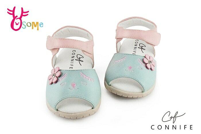 CONNIFE 小童 害羞小兔 粉嫩馬卡龍配色 氣墊涼鞋 嗶嗶鞋 H6025#綠色◆OSOME奧森鞋業