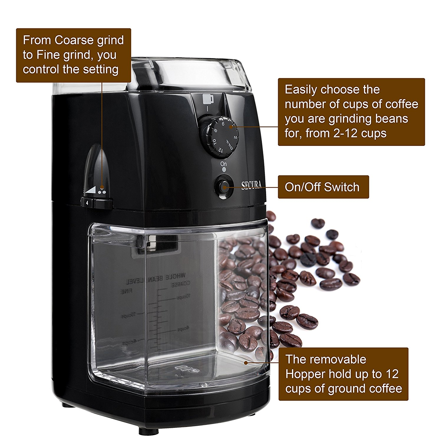 Electric Burr Coffee Grinder Drinker Welhome Zd 10 Conical With Timer Black Secura Automatic Mill 1