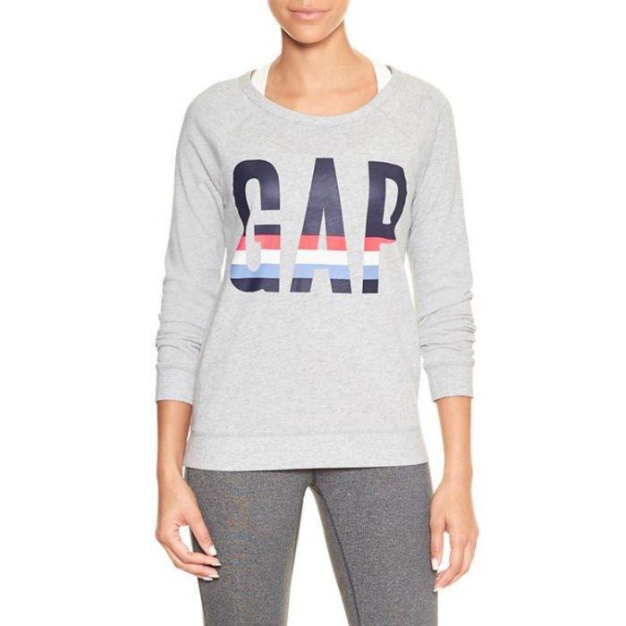 美國百分百【全新真品】GAP T恤 長T 長袖 T-shirt 大學T logo 女 XS S M號 灰色 H936