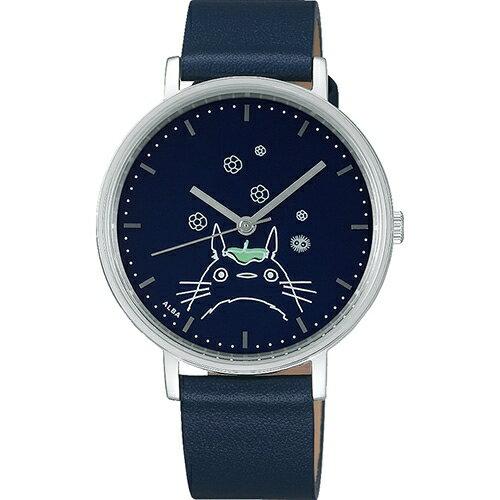 (預購中)龍貓牛革皮帶輕量ALBA圓錶-灰龍貓靛totoroALBA牛革手錶圓錶18081400009