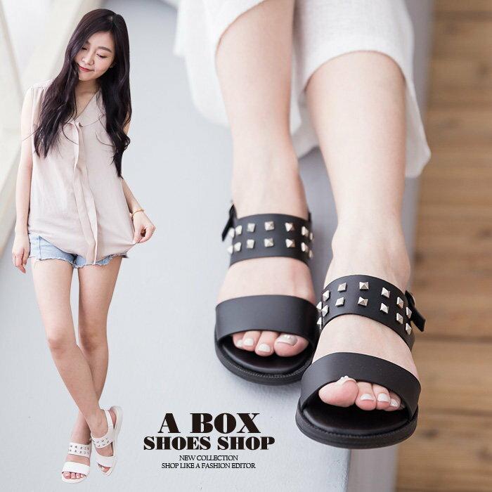 【AW740】MIT台灣製 個性金屬鉚釘釦環素面皮革 簡約摩登款 2CM厚底一字涼鞋 2色