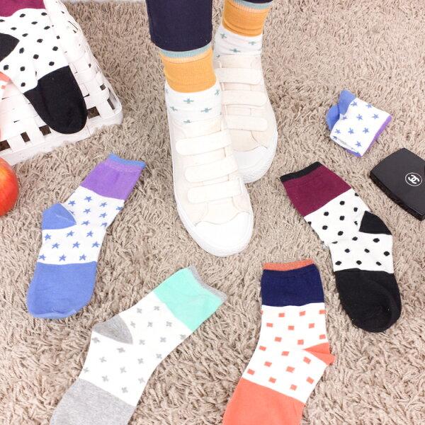 PGS7人氣系列商品-韓系拼色點點中筒襪襪子【SPZ80031】