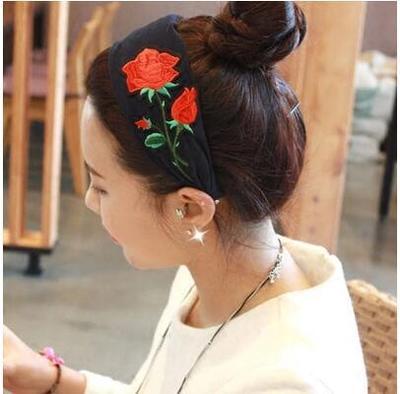 50%OFF SHOP【IU022450HB】韓國優雅絲絨寬布髮箍撞色刺繡玫瑰花頭箍髮卡髮飾
