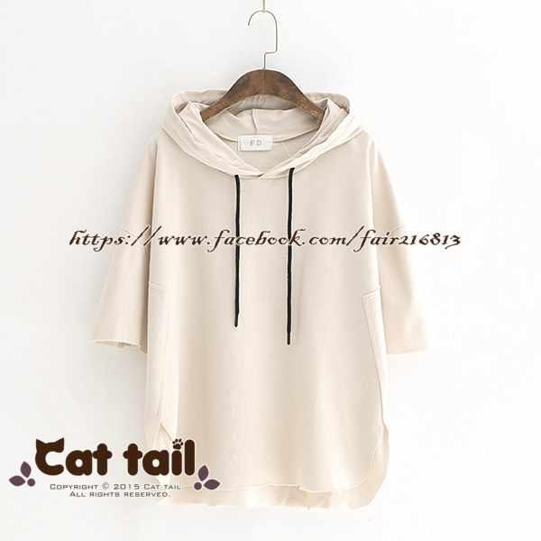 《貓尾巴》LZ-03058韓版休閒純色連帽短袖T恤(森林系日系棉麻文青清新)