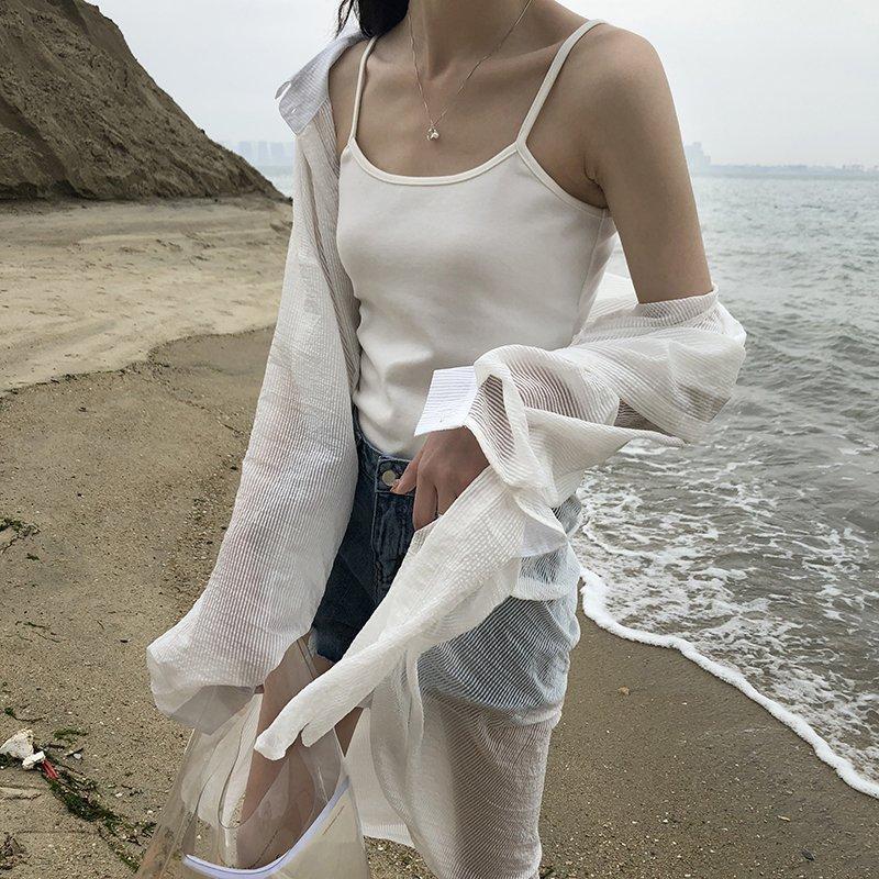 雪紡襯衫-長款雪紡襯衫寬鬆防曬中長款薄款襯衫外套 0