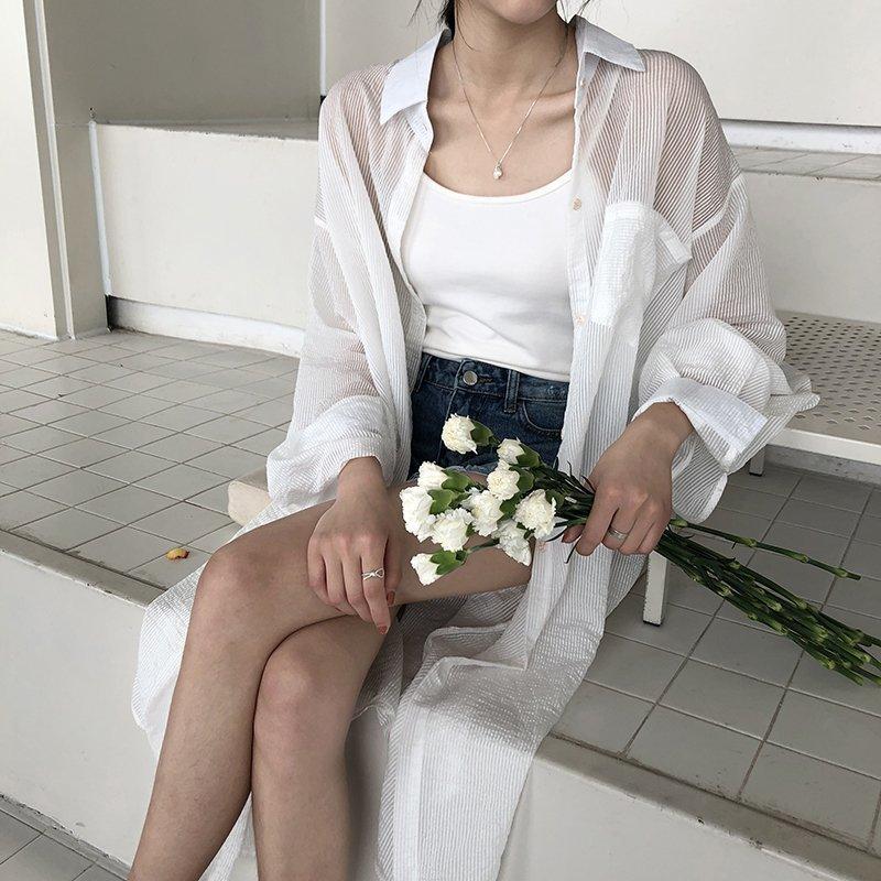 雪紡襯衫-長款雪紡襯衫寬鬆防曬中長款薄款襯衫外套 2