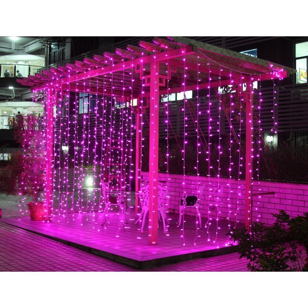 Extendable/linkable Christmas Party Fairy curtains Light multiple light string connected can be synchronization control by one controller 8 model connectable lighting for Wedding ceremony Christmas Party Holiday celebration 3Mx3M 300LED Pink color 1