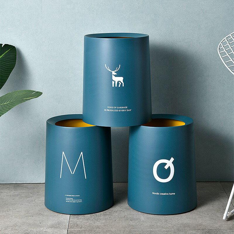 套蓋垃圾桶 雙層套蓋垃圾筒 印花北歐風垃圾桶 大口徑 家用 字母印花 無蓋垃圾桶 廁所垃圾桶  客廳 廚房