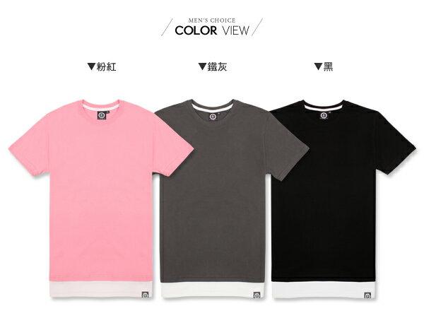 ☆BOY-2☆【KK6727】休閒素面假兩件男裝短袖T恤 1