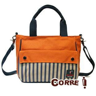 ★CORRE【CG71074】帆布印刷條紋手提斜背包 ★ 藍色/紅色/橘色 共三色 1