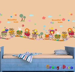動物列車 DIY組合壁貼 牆貼 壁紙 無痕壁貼 室內設計 裝潢 裝飾佈置【橘果設計】