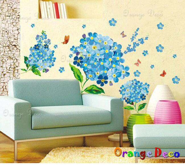 藍色小花朵 DIY組合壁貼 牆貼 壁紙 無痕壁貼 室內設計 裝潢 裝飾佈置【橘果設計】