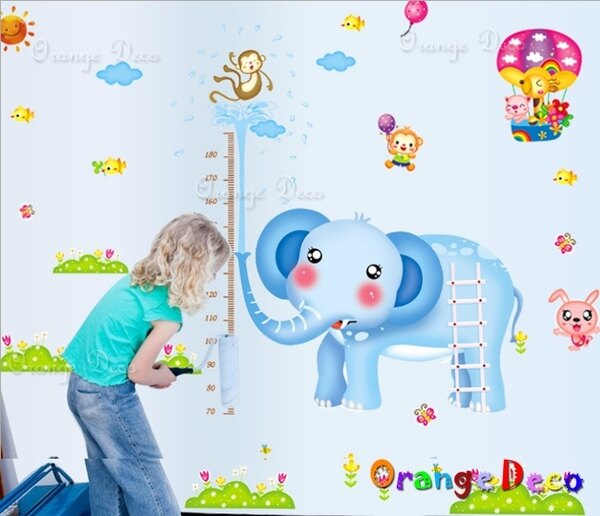 橘果設計:大象身高尺DIY組合壁貼牆貼壁紙無痕壁貼室內設計裝潢裝飾佈置【橘果設計】