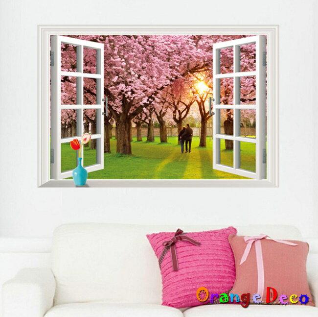 櫻花樹窗戶 DIY組合壁貼 牆貼 壁紙 無痕壁貼 室內設計 裝潢 裝飾佈置【橘果設計】