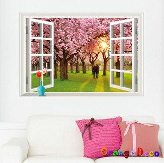【橘果設計】櫻花樹窗戶 DIY組合壁貼 牆貼 壁紙 無痕壁貼 室內設計 裝潢 裝飾佈置