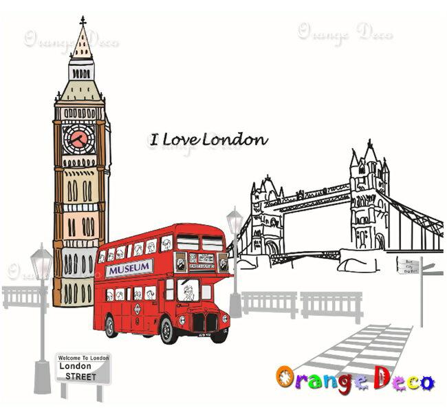 倫敦雙層巴士 DIY組合壁貼 牆貼 壁紙 無痕壁貼 室內設計 裝潢 裝飾佈置【橘果設計】