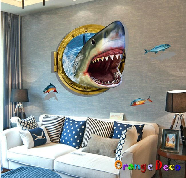 3D鯊魚 DIY組合壁貼 牆貼 壁紙 無痕壁貼 室內設計 裝潢 裝飾佈置【橘果設計】