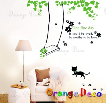 鞦韆貓 DIY組合壁貼 牆貼 壁紙 無痕壁貼 室內設計 裝潢 裝飾佈置【橘果設計】